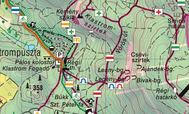 turistajelzések Cartographia térképen