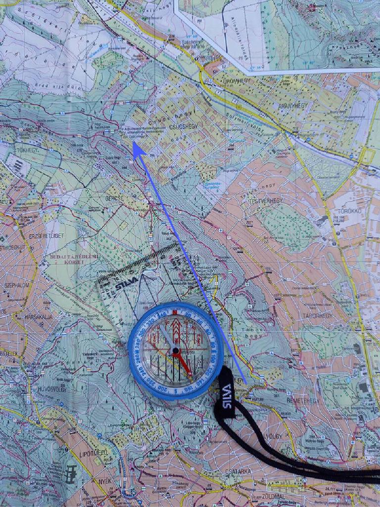 tájoló szelencéjének beforgatása térképen
