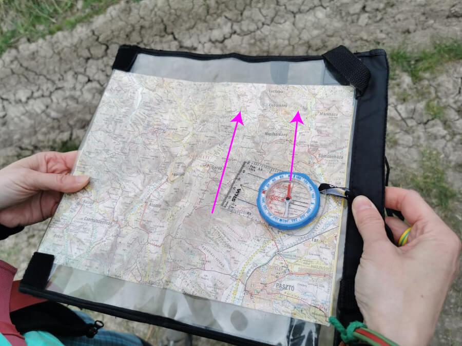 térkép tájolása tájolóval